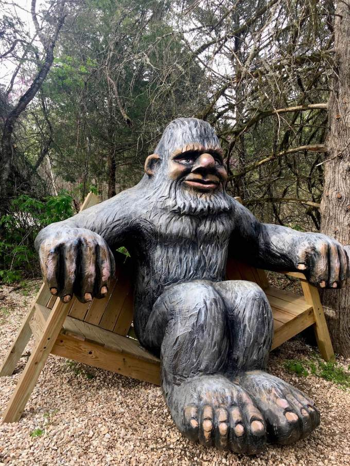 Bigfoot statue at Lake Leatherwood Park in Eureka Springs, Arkansas