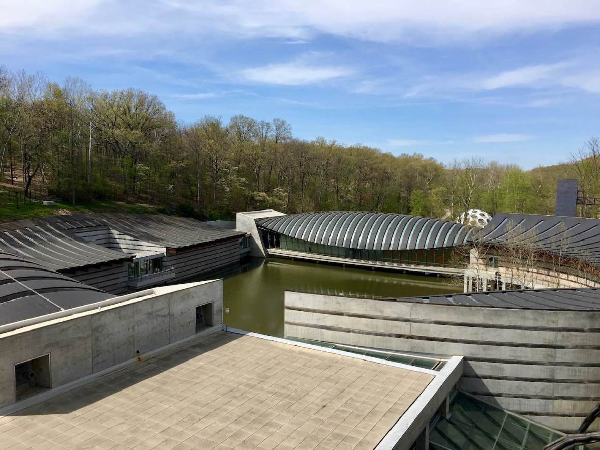 Moshe Safdie-designed Crystal Bridges Museum of American Art in Bentonville, Arkansas