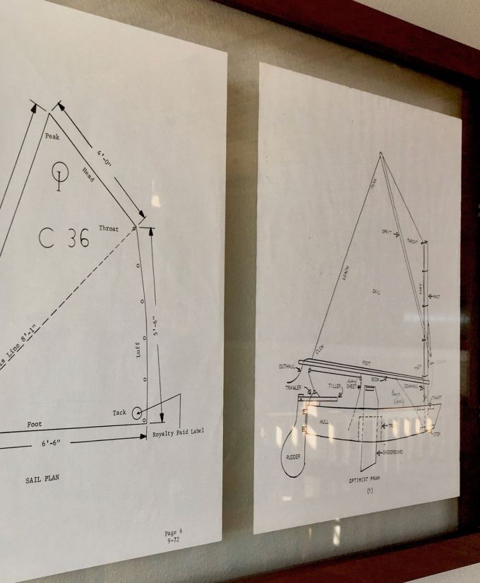Old Optimist Pram plan drawings at The Woodwright Brewing Company in Dunedin, Florida