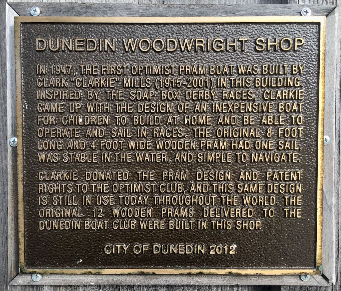 Dunedin Woodright Clark Mills Boat Shop historic plaque
