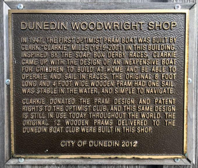 Dunedin Woodright Clark Mills Boat Shop historic plaque