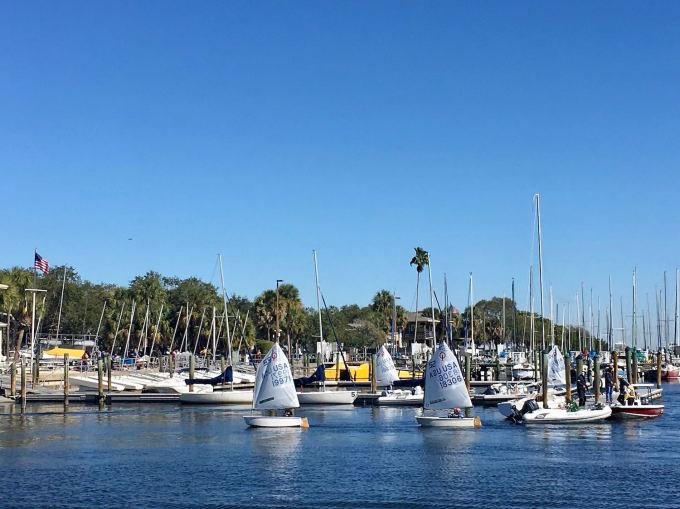 Optimist Pram Sailboats in South Yacht Basin, downtown St. Petersburg Florida