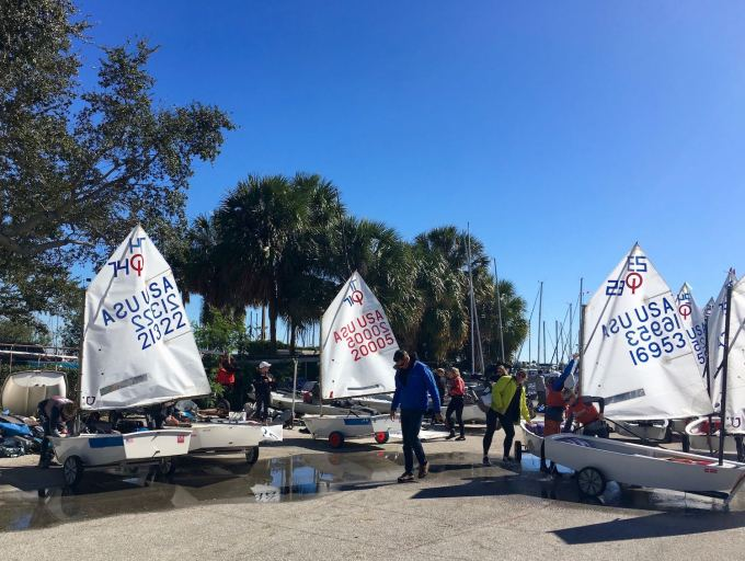 Optimist Prams at St. Petersburg Sailing Center, downtown St. Pete Florida