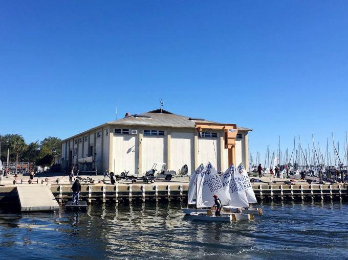 Optimist Pram Sailboats Optis at St. Petersburg Sailing Center, downtown St. Pete Florida