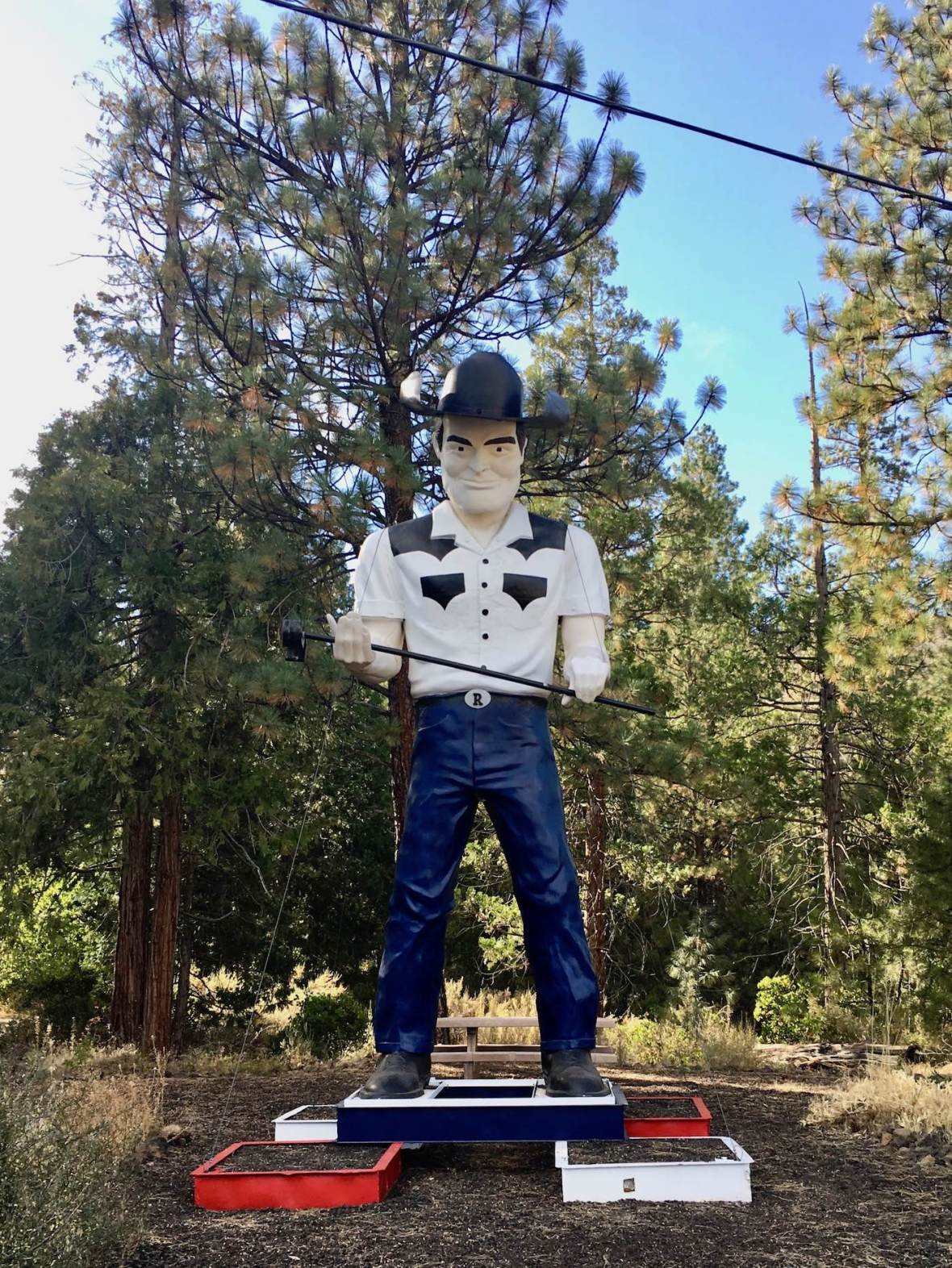 Giant cowboy statue near Lassen Volcanic National Park
