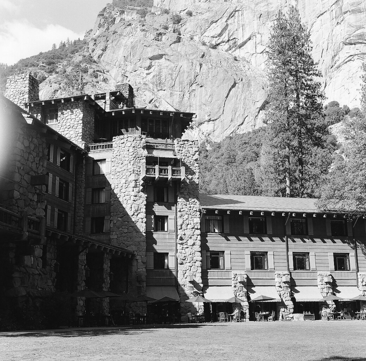 Medium format 120mm monochrome film photography The Ahwahnee - formerly The Majestic Yosemite Hotel in Yosemite National Park
