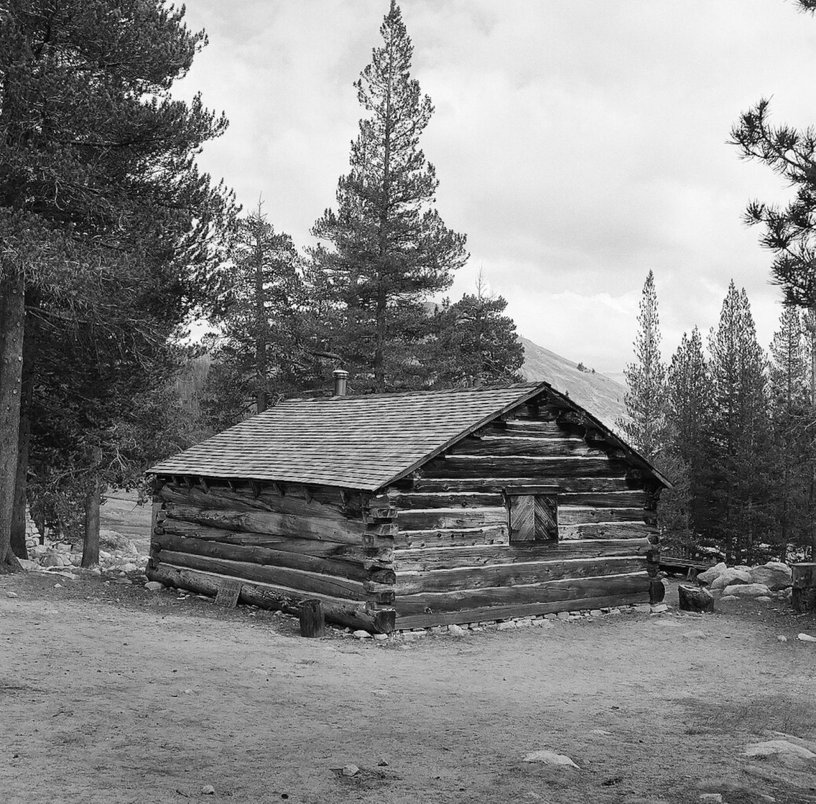 Medium format 120 mm monochrome film photography cabin in Tuolumne Meadows Yosemite National Park