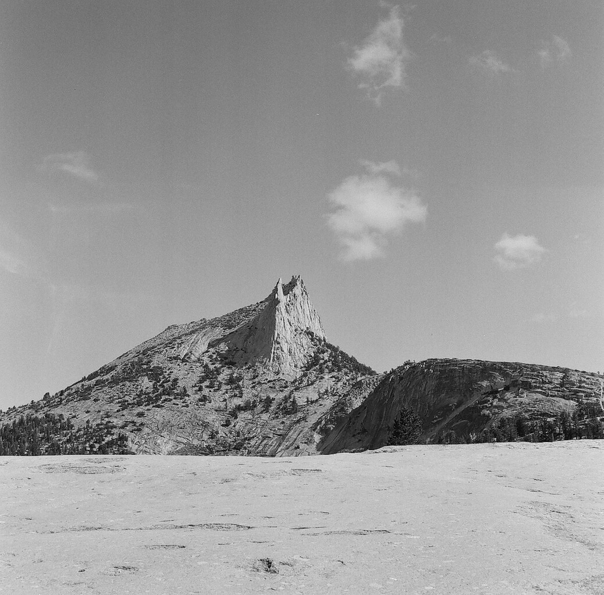 Medium format 120 mm monochrome film photography Cathedral Peak in Yosemite National Park