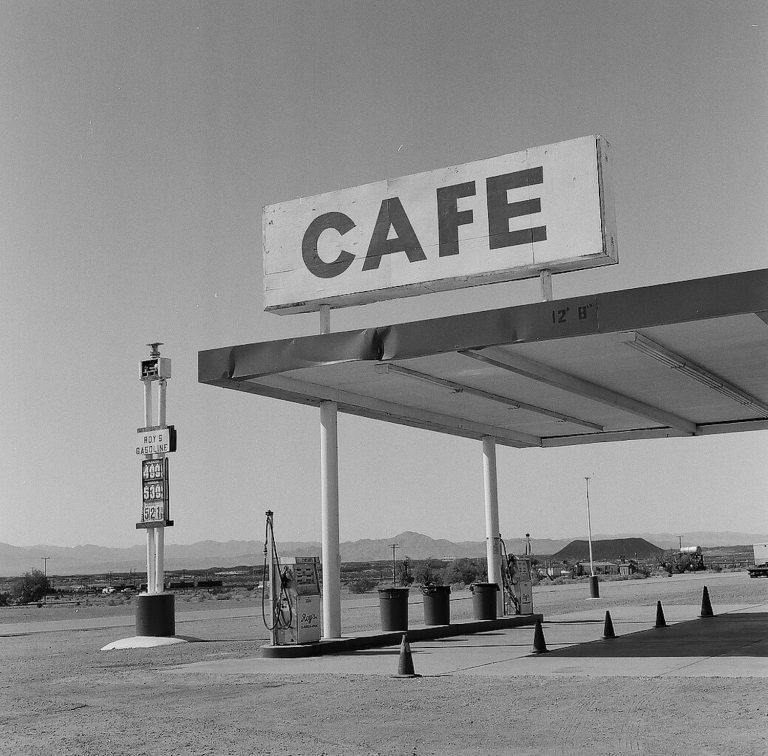Medium format 120 mm monochrome film photography Roy's Motel and Cafe in Amboy, California along Route 66
