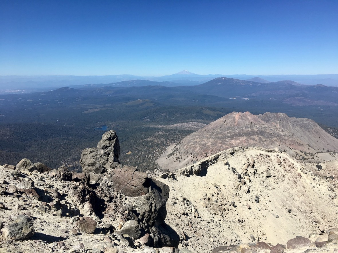 View of Mt. Shasta from rim of the Lassen Peak caldera in Lassen Volcanic National Park