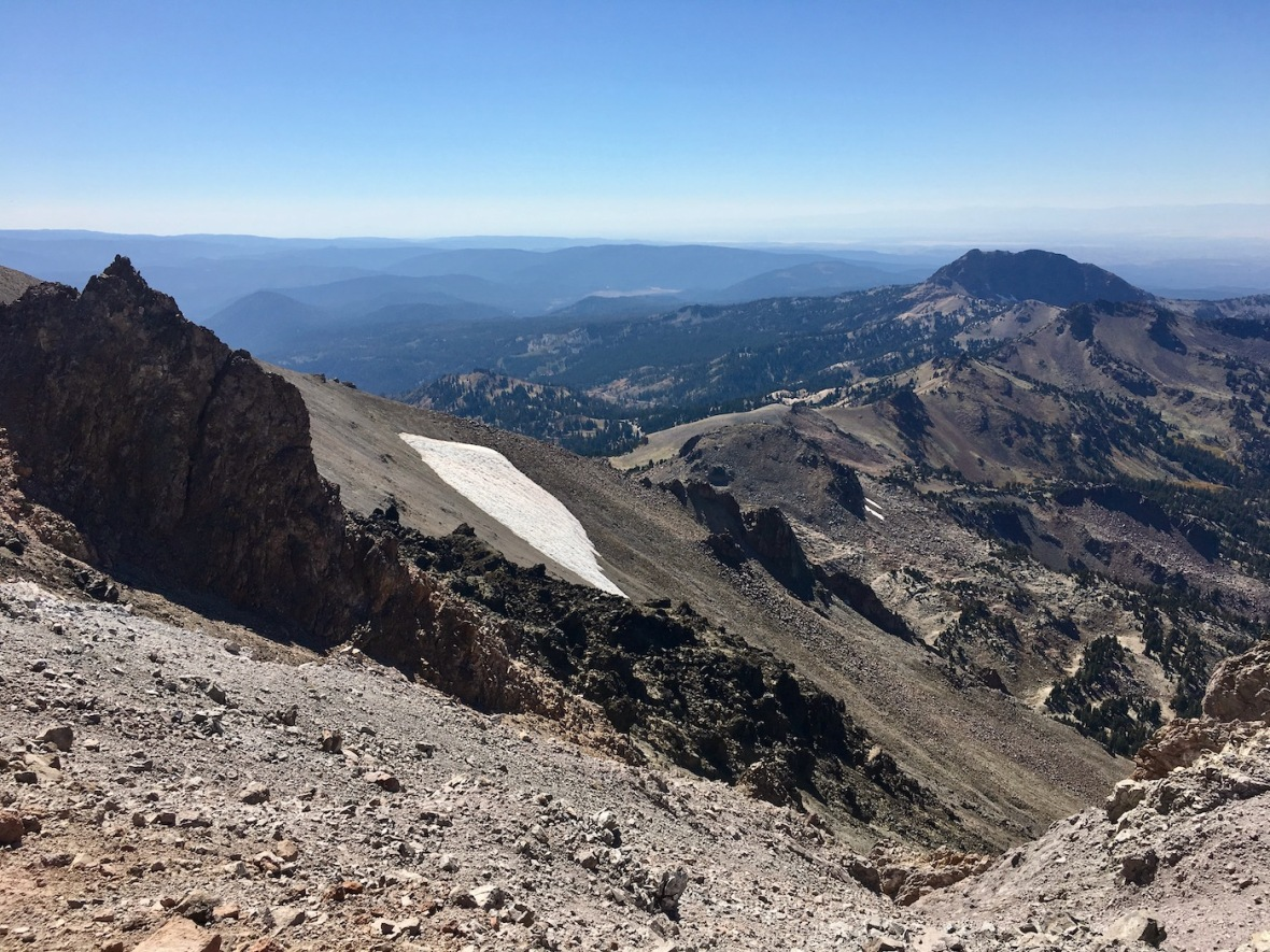Brokeoff Mountain view from rim of the Lassen Peak caldera in Lassen Volcanic National Park
