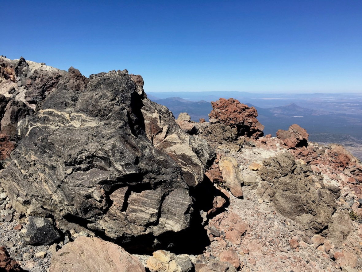 Interesting volcanic boulders on the rim of the Lassen Peak caldera in Lassen Volcanic National Park