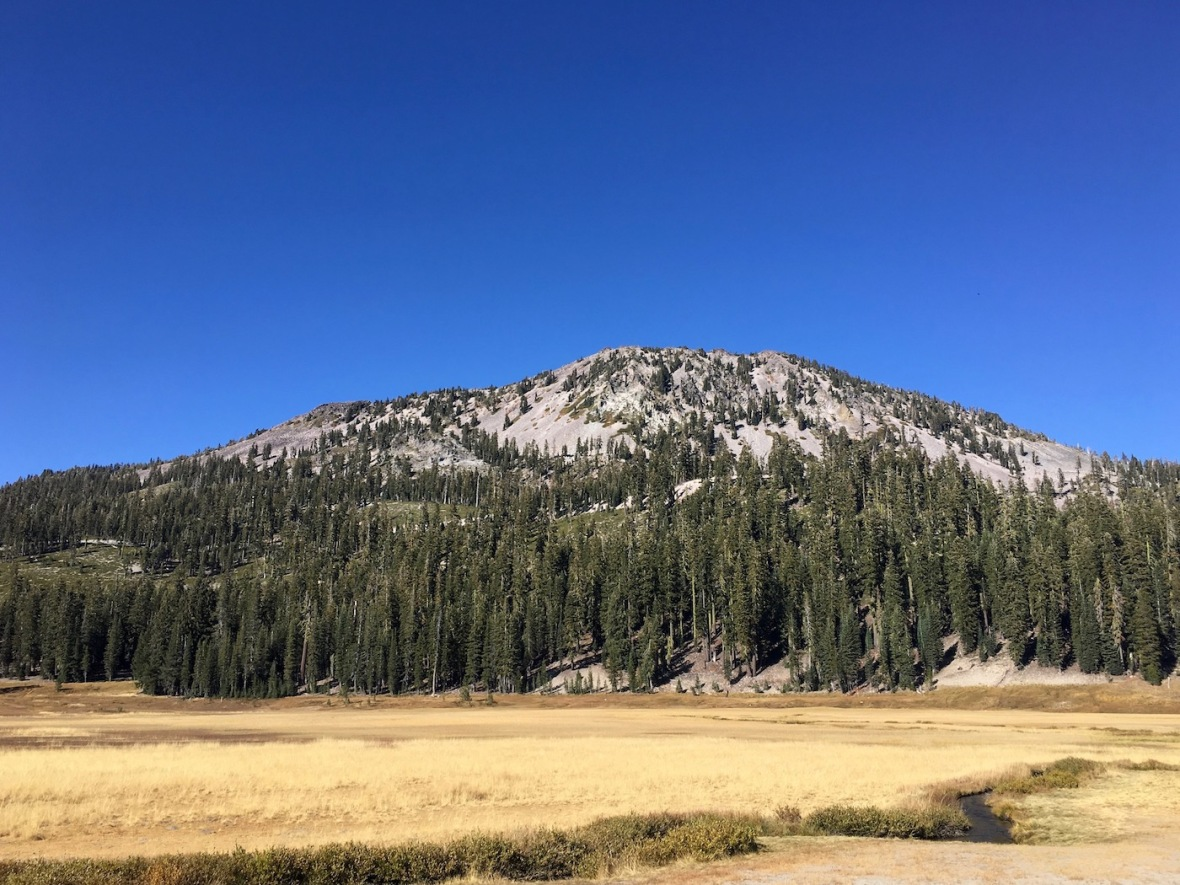 View of Lassen Peak and Hat Creek from Dersch Meadows in Lassen Volcanic National Park
