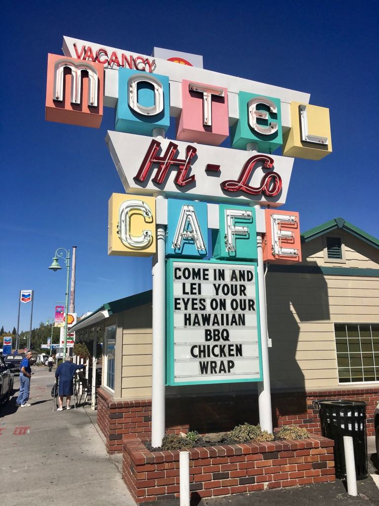 Hi-Lo Cafe and Motel mid century neon sign in Weed, California