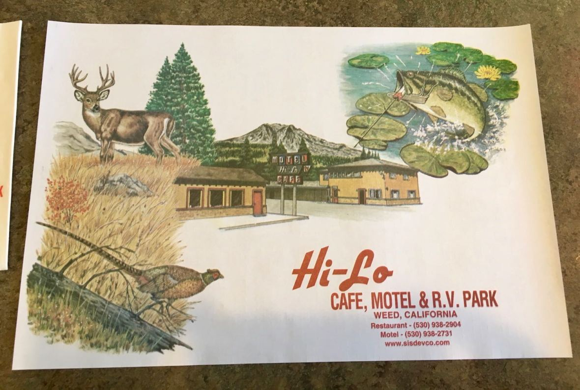 Hi-Lo Cafe and Motel in Weed, California paper diner placemat