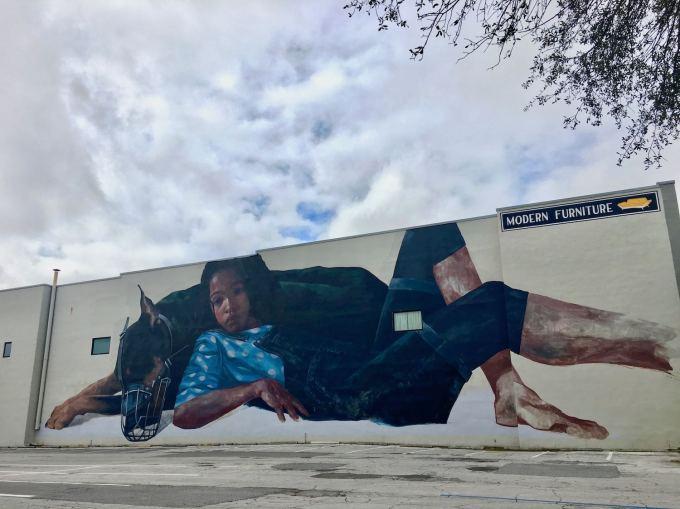Mural on the side of Furnish Me Vintage Building in St. Petersburg Florida