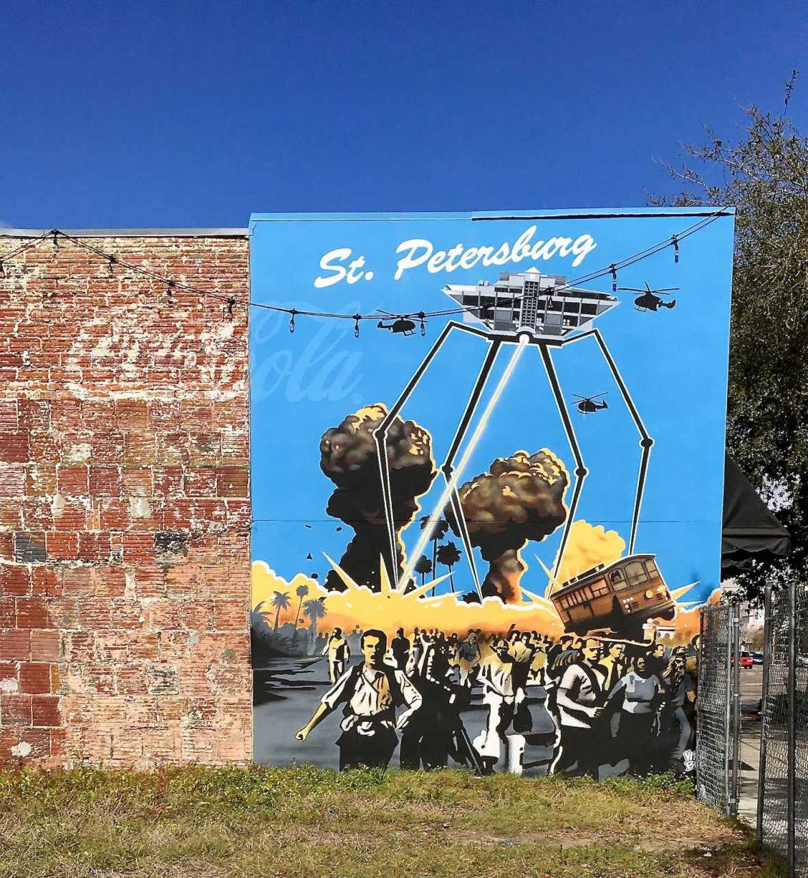 Old Inverted Pyramid Pier Alien Ship Mural in St. Pete