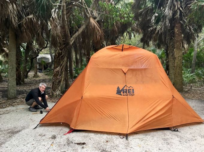 Pitching the ten - Camping in our REI Grand Hut 4 in Fort De Soto Park near St. Petersburg, Florida