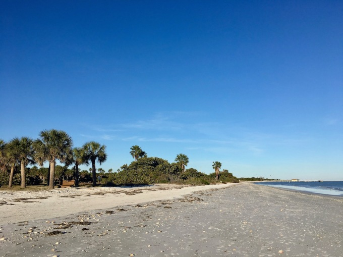 Beach near the fort and interpretive trail in Fort De Soto Park near St. Petersburg, Florida