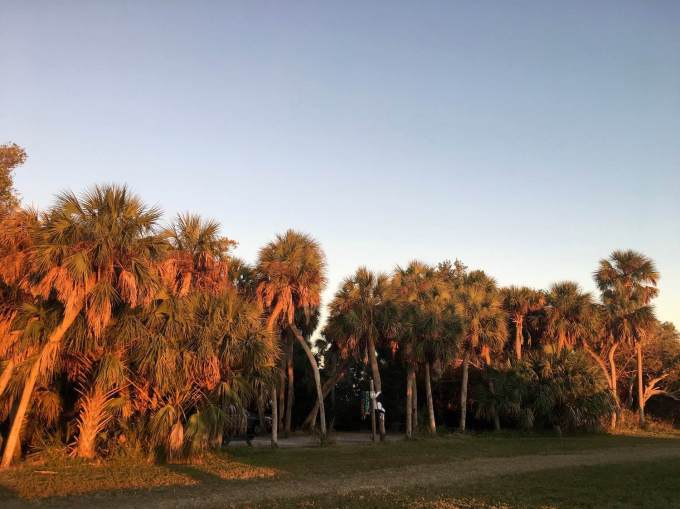 Sunset view of the campsites along the bay in Fort De Soto Park