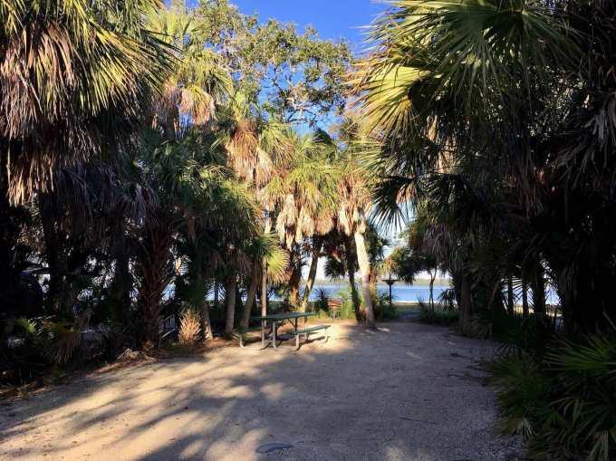 Waterfront campsite at Fort De Soto Park near St. Pete, Florida