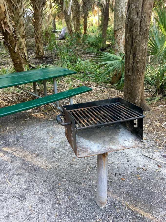 Grill at campsite #14 in Fort De Soto Park campground