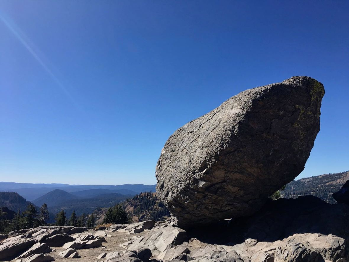 Balanced Boulder at Brokeoff Volcano viewpoint in Lassen Volcanic National Park