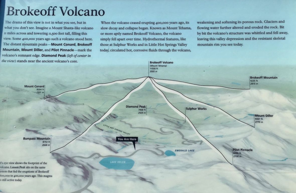 Brokeoff Volcano information plaque at Lassen Volcanic National Park