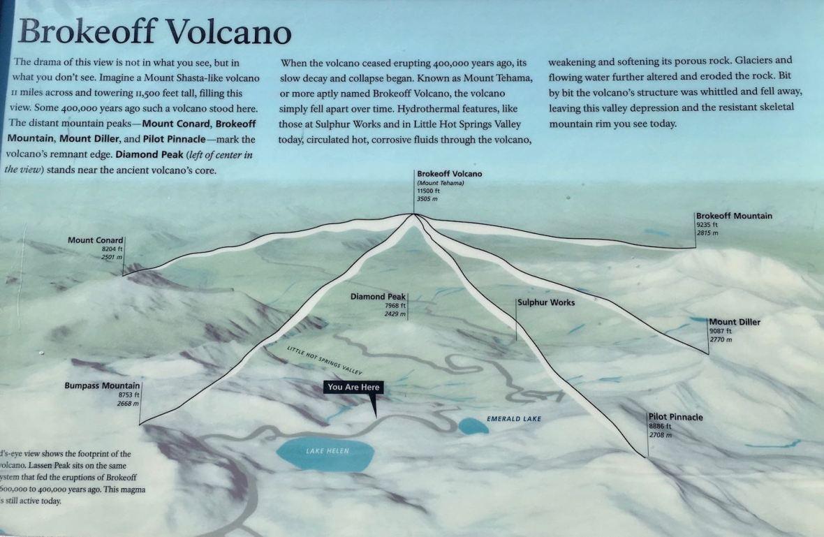 Brokeoff Volcano information plaque at Lassen Volcanic National Park