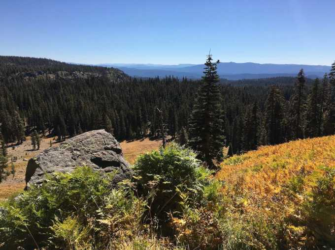Overlooking Kings Meadow and mountain vistas in autumn from the King Creek Trail in Lassen Volcanic National Park