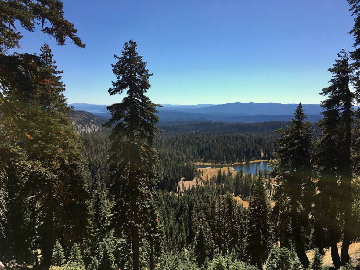 View of Crumbaugh Lake from Bumpass Hell trail in Lassen Volcanic National Park