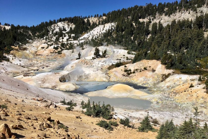 Bumpass Hell boiling springs, mud pots, hissing steam vents, and roaring fumaroles in Lassen Volcanic National Park