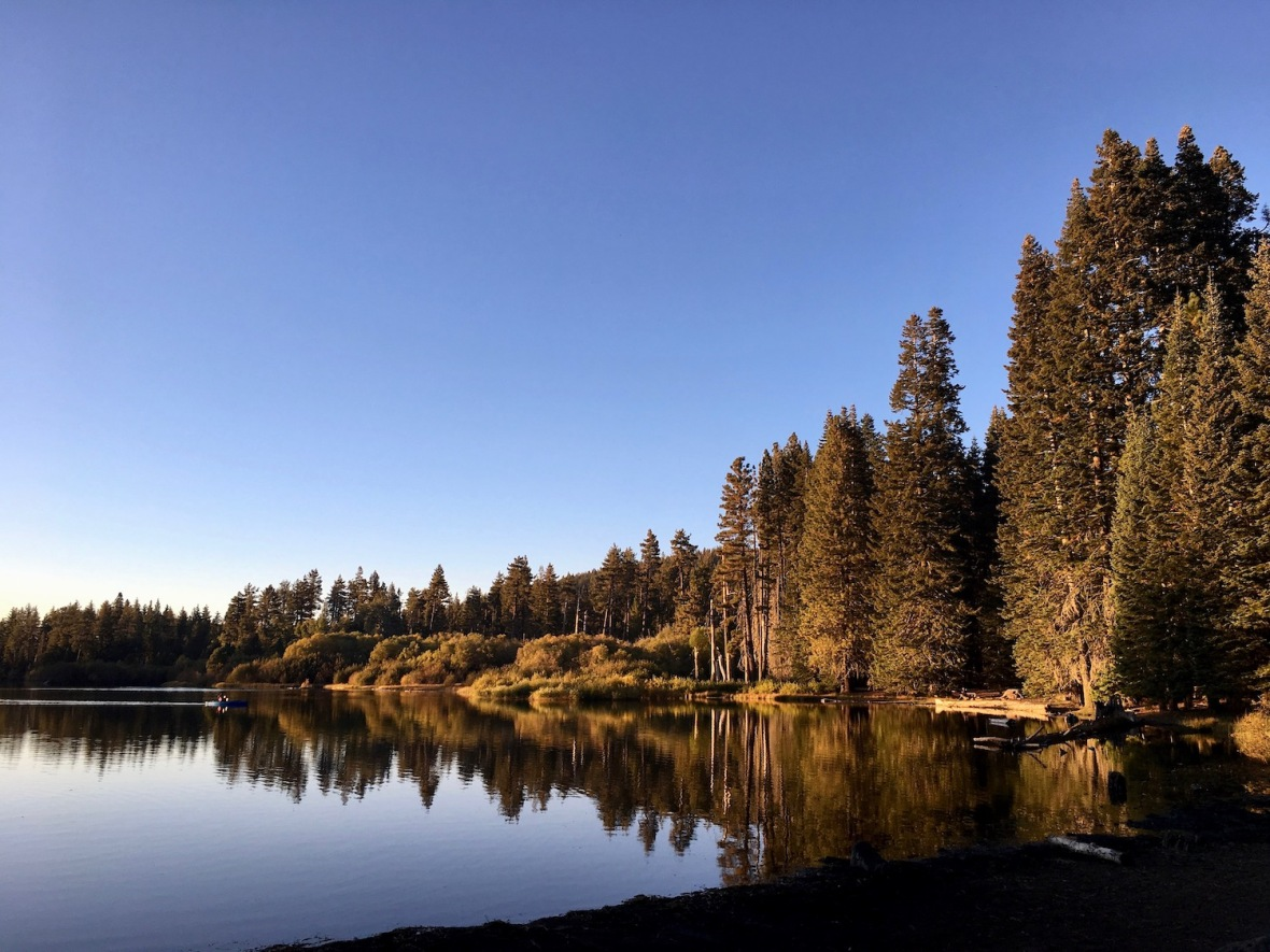 The golden hour at Manzanita Lake in Lassen Volcanic National Park