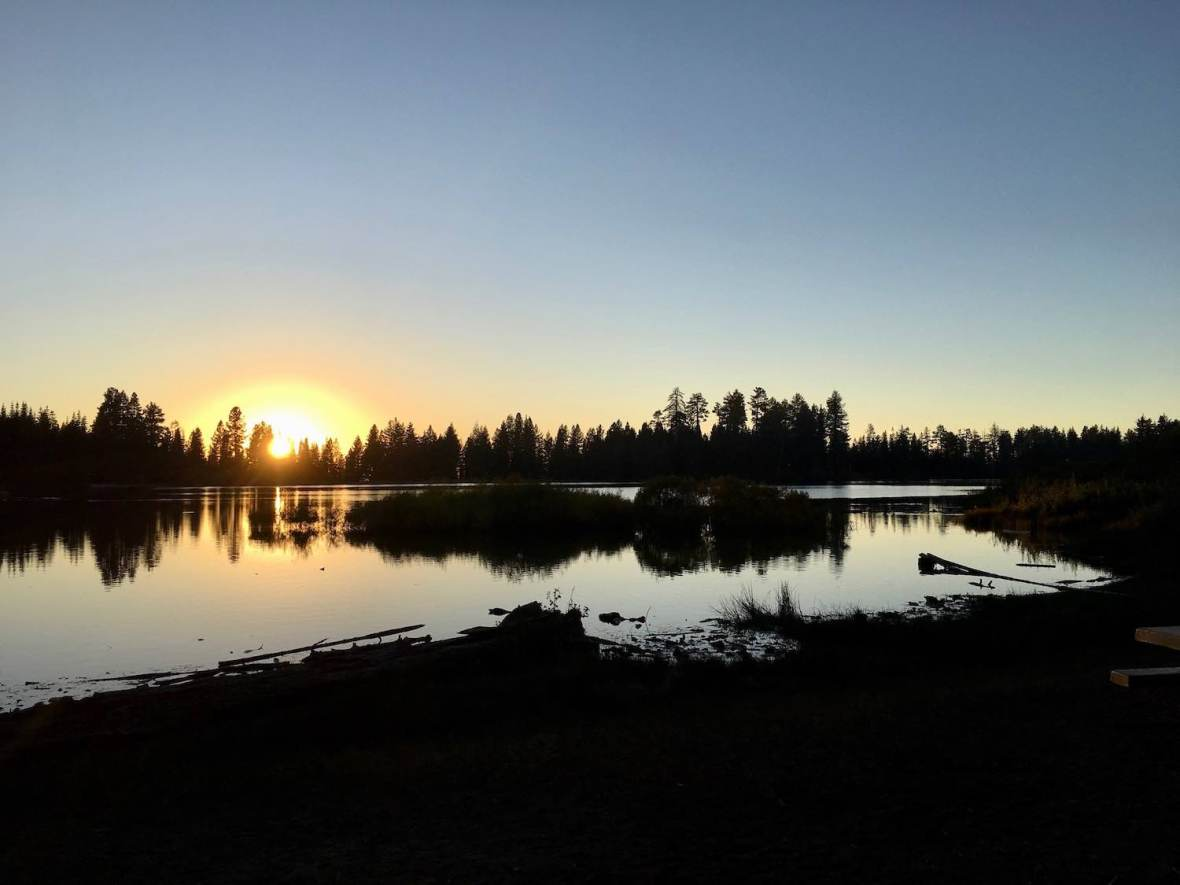 Sunset at Manzanita Lake in Lassen Volcanic National Park