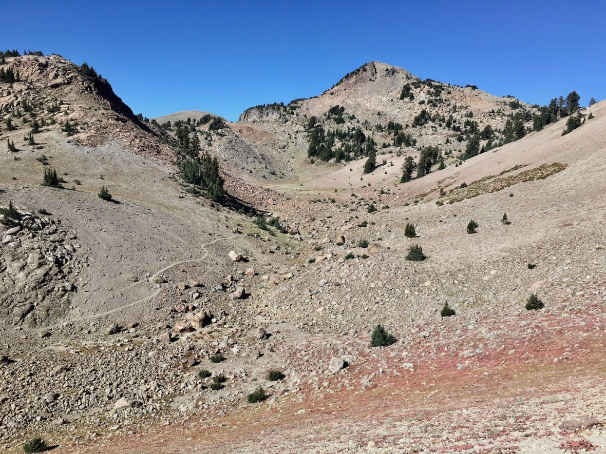 View from Lassen Peak trailhead in Lassen Volcanic National Park
