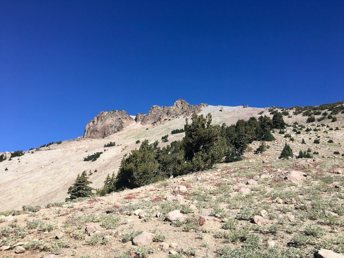 View of Vulcan's Eye from the Lassen Peak trail in Lassen Volcanic National Park