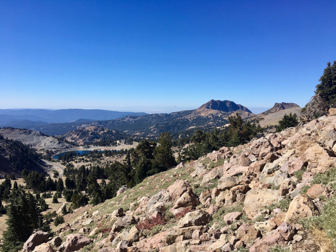 View of Brokeoff Mountain and Lake Helen from the Lassen Peak trail in Lassen Volcanic National Park