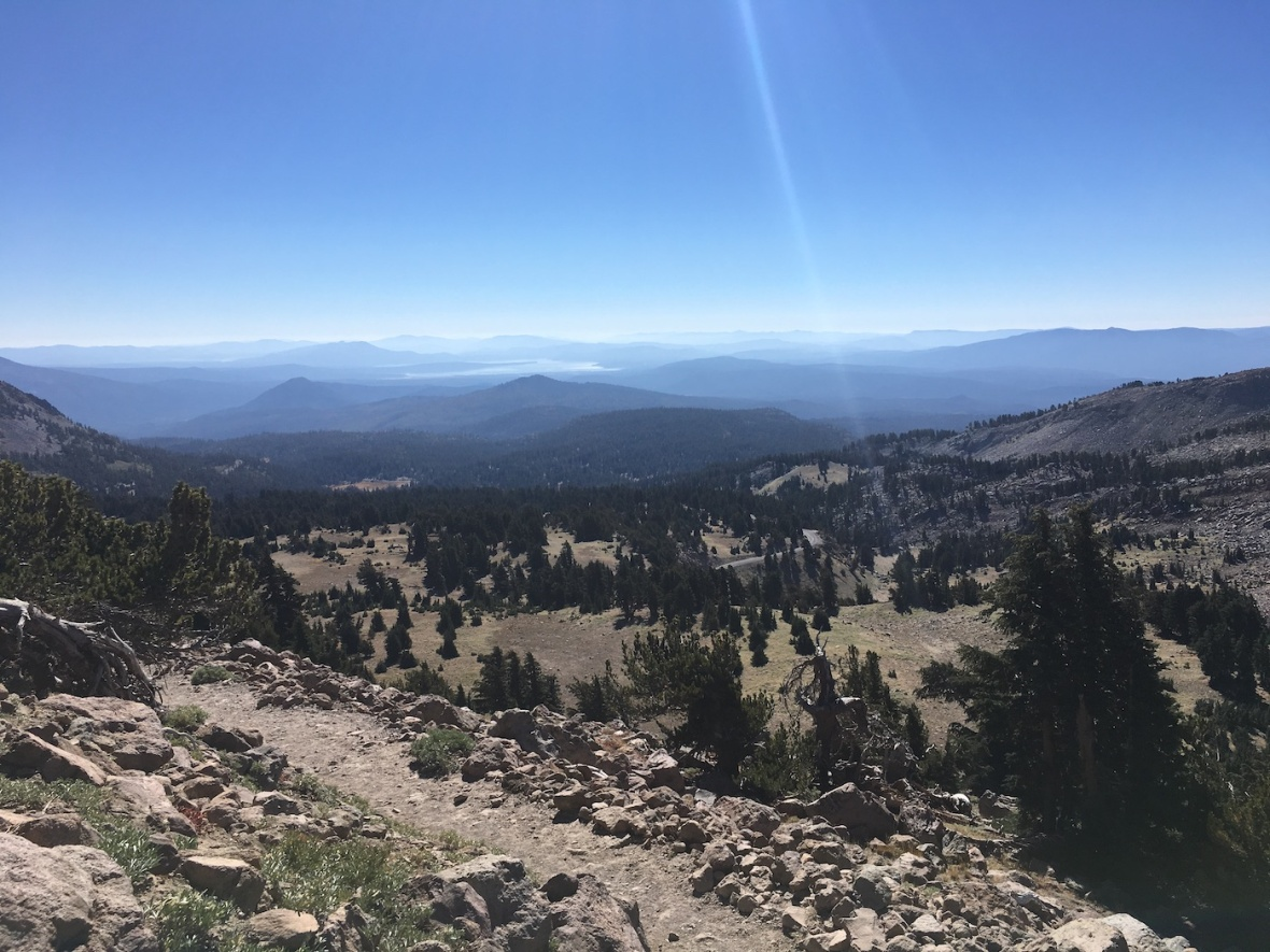 Mountain and lake vistas along the Lassen Peak trail in Lassen Volcanic National Park