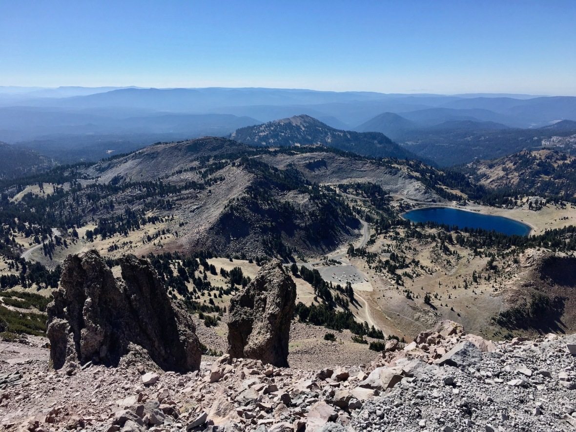 View of Lake Helen from the Lassen Peak trail in Lassen Volcanic National Park