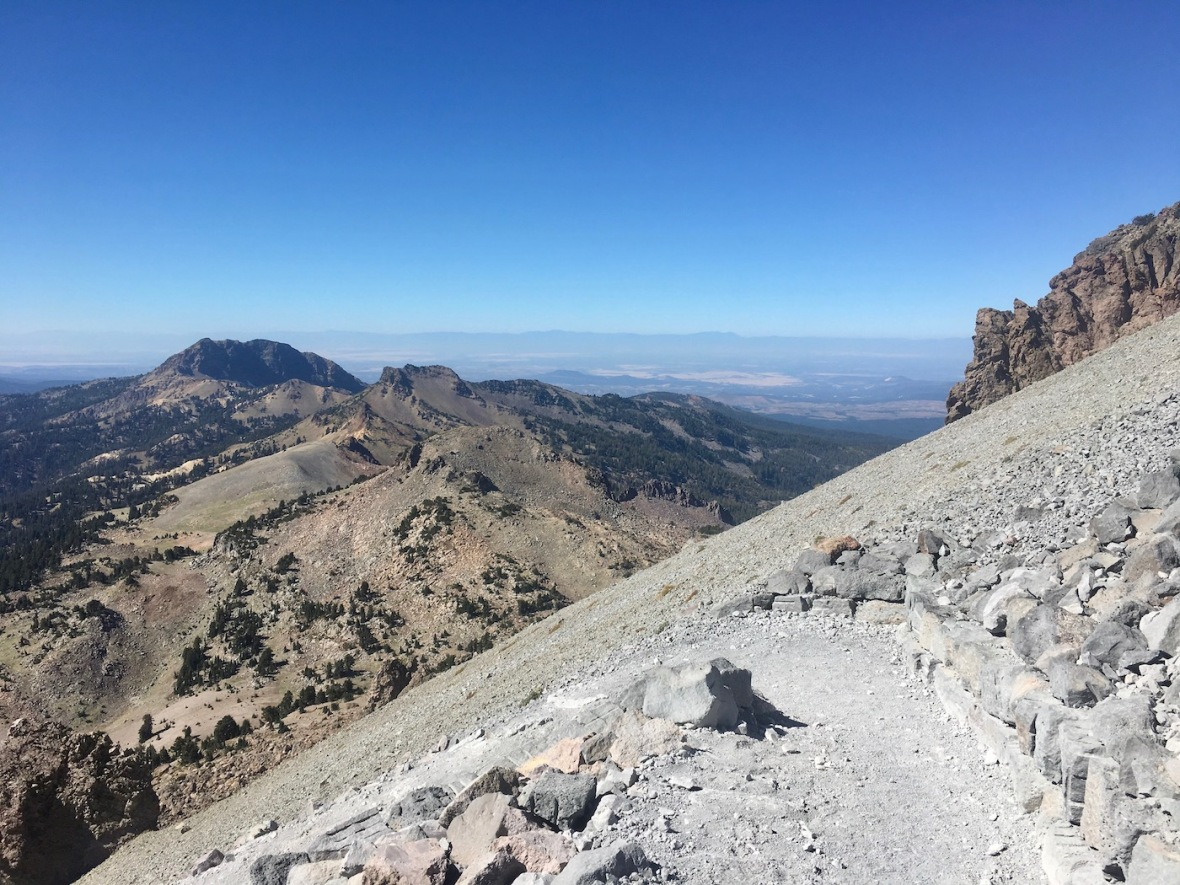 View of Brokeoff Mountain from switchback on the Lassen Peak trail in Lassen Volcanic National Park