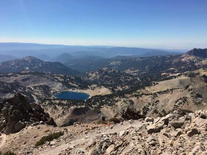 Mountain and lake views from the Lassen Peak Trail Lassen Volcanic National Park California