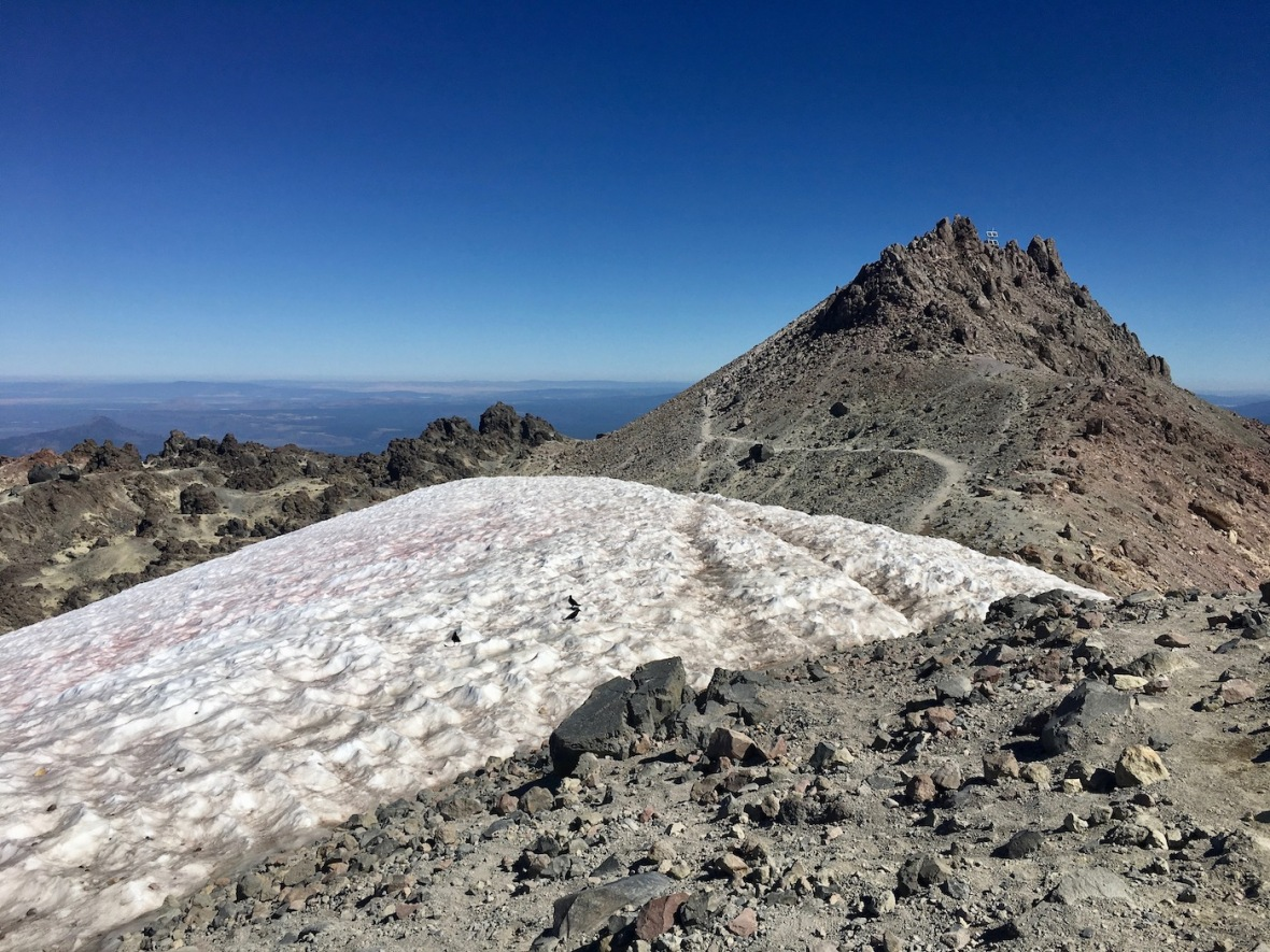 View of Lassen Peak summit and permanent snowfield in Lassen Volcanic National Park