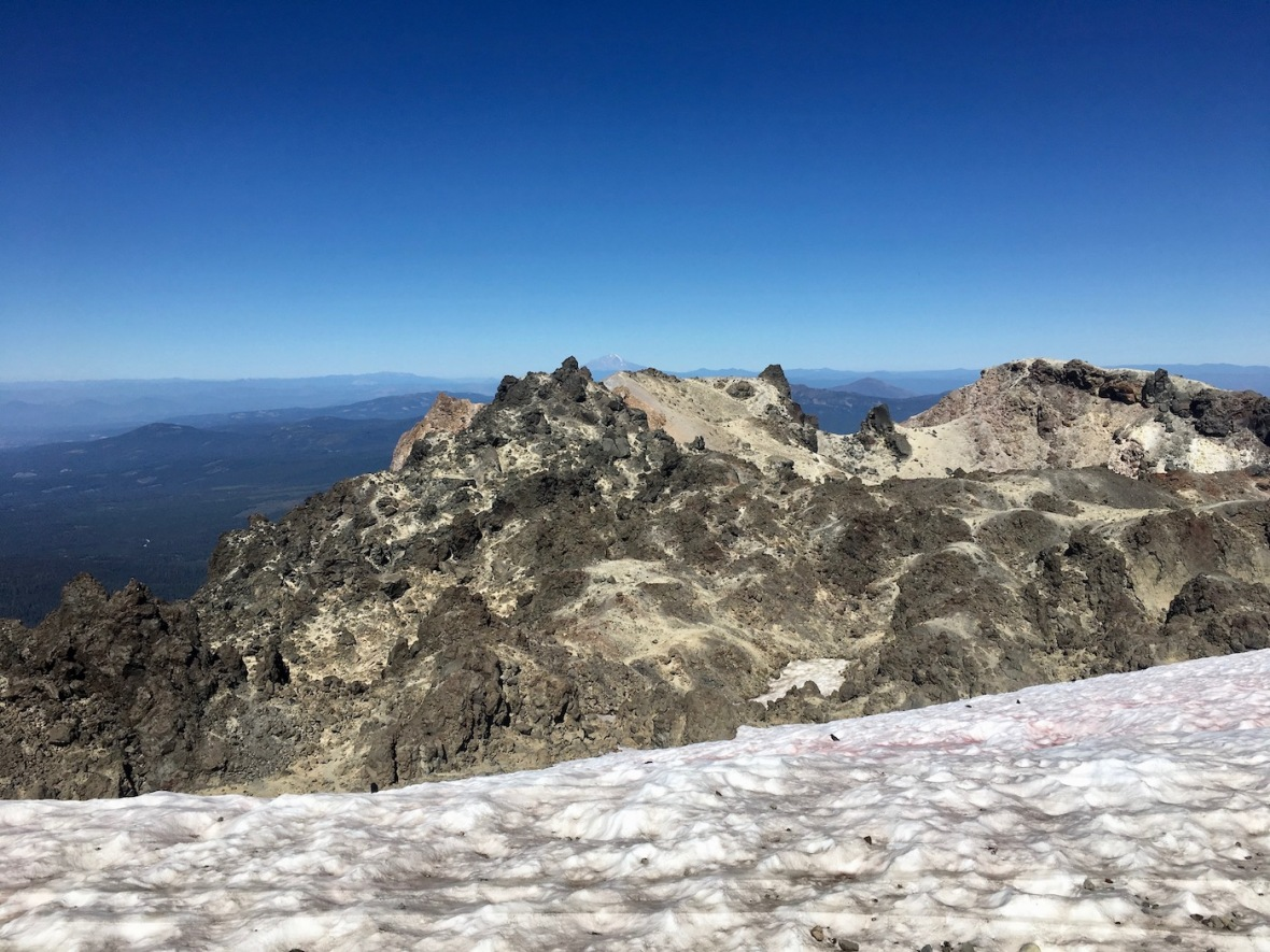Lassen Peak caldera and permanent snowfield in Lassen Volcanic National Park