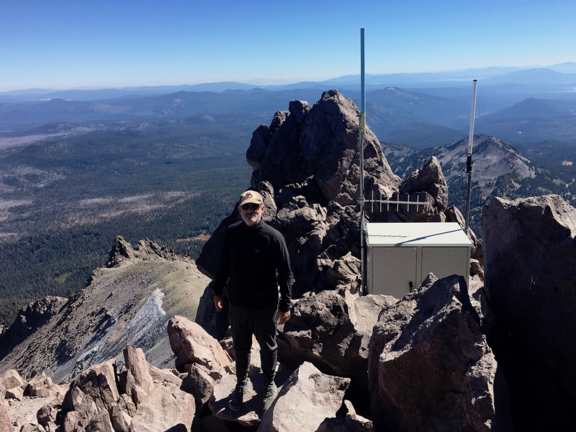 Tower atop the summit of Lassen Peak in Lassen Volcanic National Park