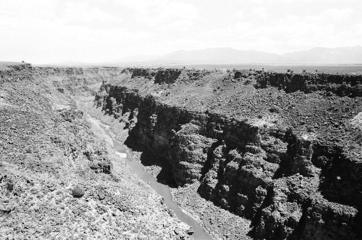 Monochrome 35mm film photograph of Rio Grande Gorge near Taos, Rio Grand Del Norte National Monument