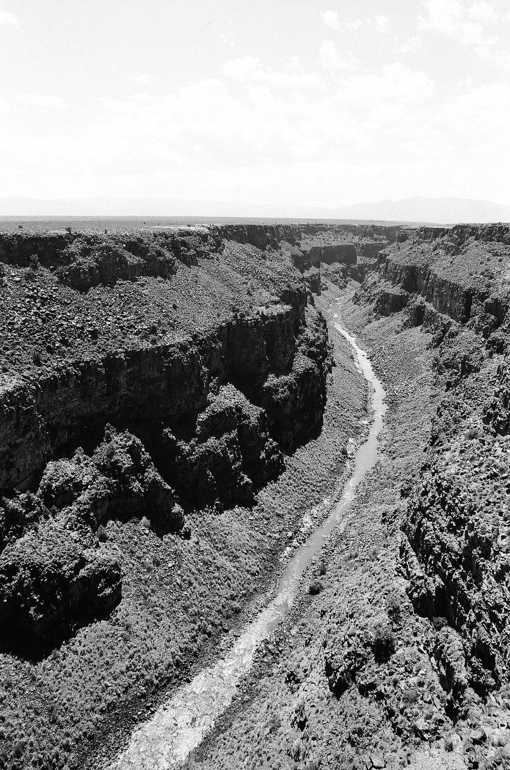 Monochrome 35mm Kodak Tri-X 400 film photograph of Rio Grande Gorge near Taos, Rio Grand Del Norte National Monument