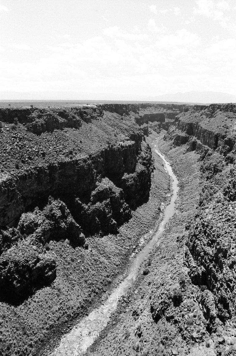 Monochrome 35mm Kodak Tri-X 400 film photograph of Rio Grande Gorge near Taos, Rio Grand Del Norte National Monument