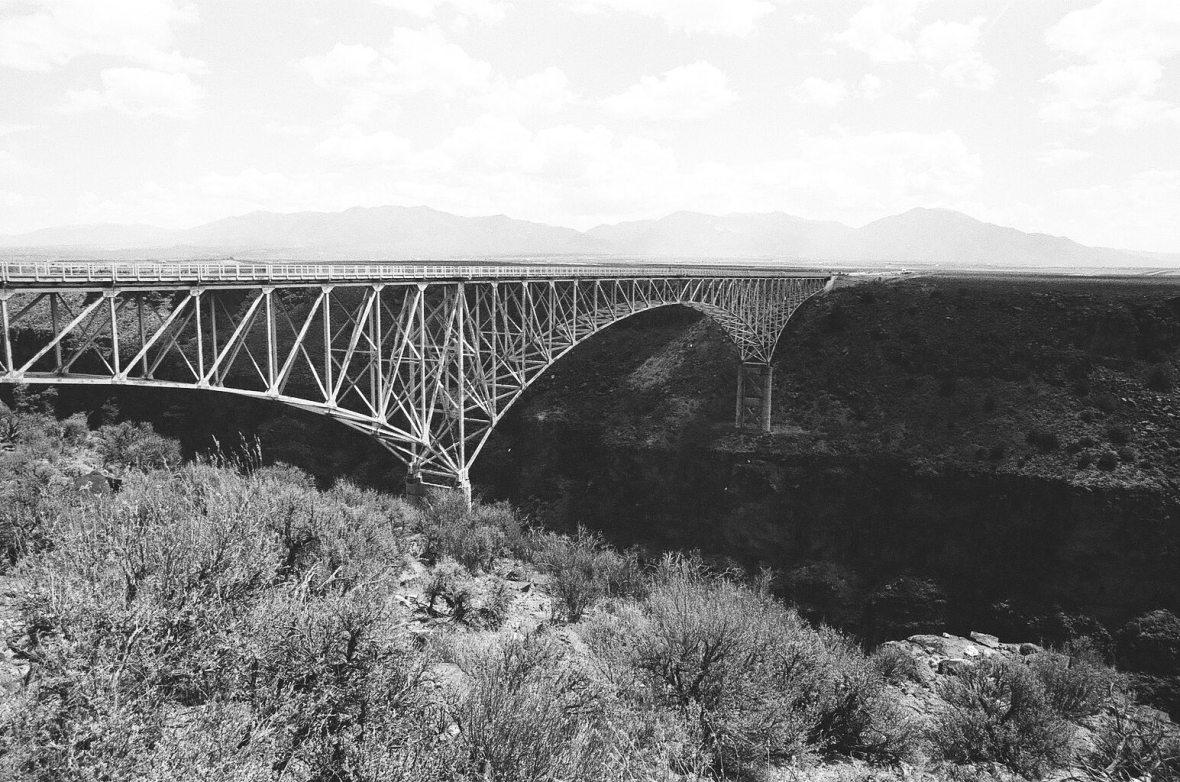 Monochrome 35mm Kodak Tri-X 400 film photograph of Rio Grande Gorge Bridge near Taos, Rio Grand Del Norte National Monument