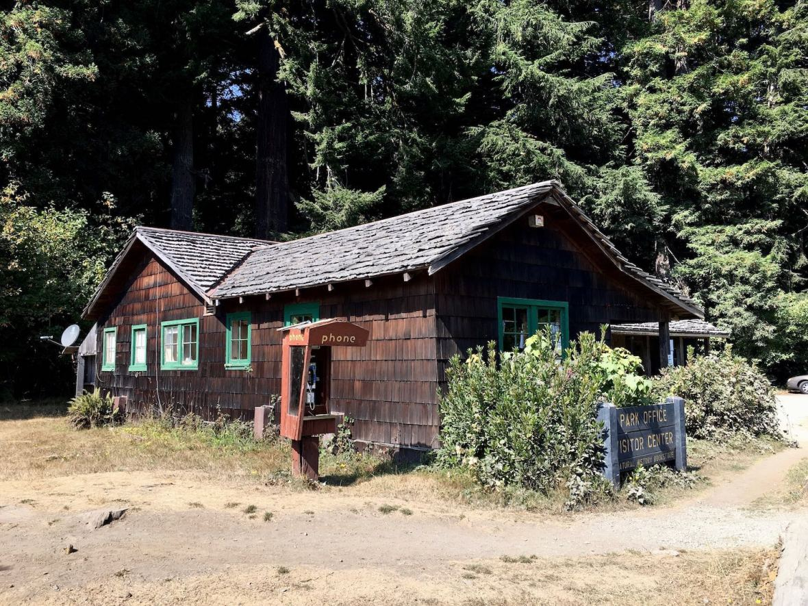 Historic Prairie Creek Redwoods State Park visitor center on Newton B. Drury Scenic Parkway near Hwy 101