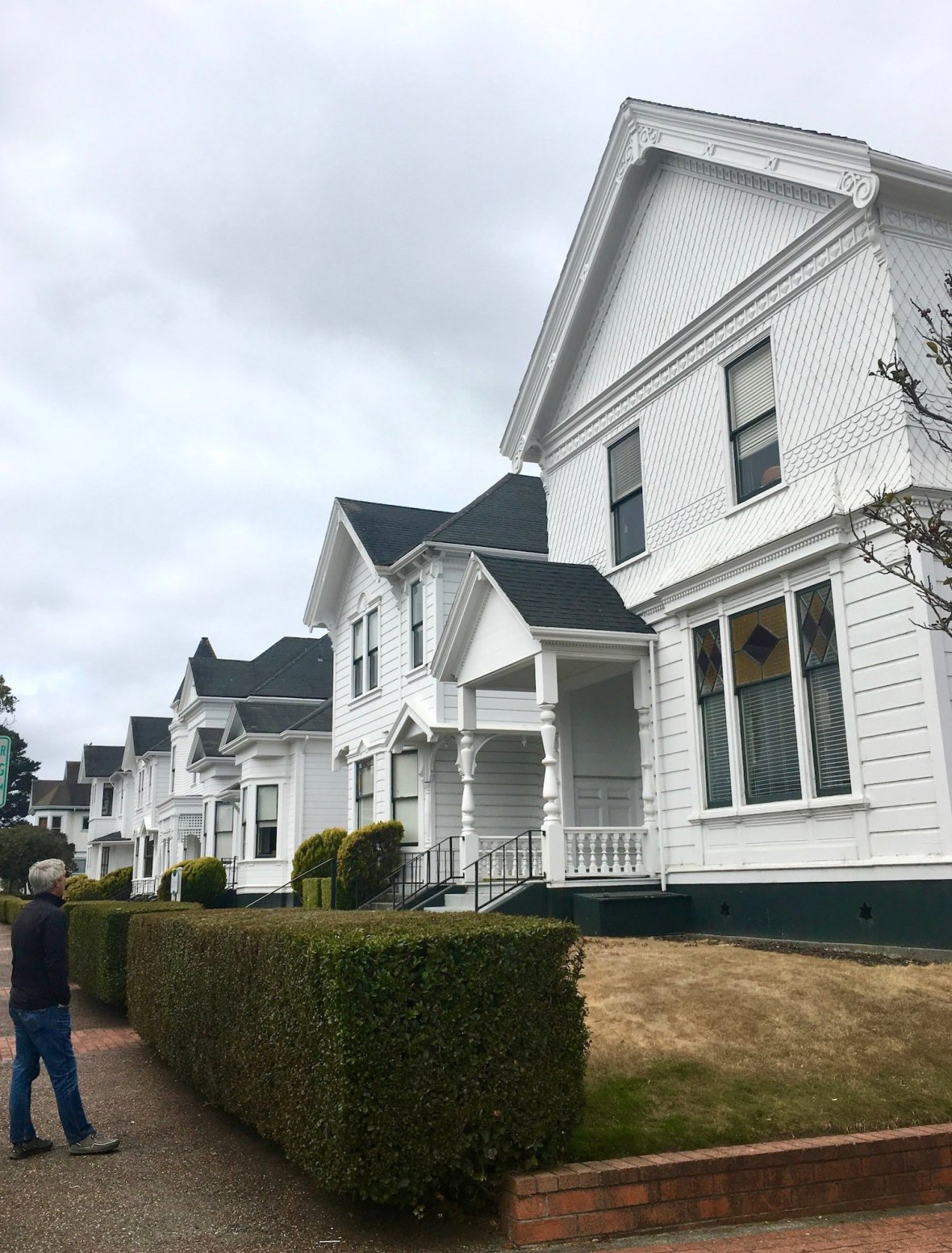 Row of white houses - Victorian homes in Eureka, California
